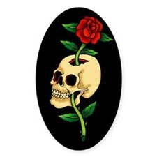 Skull With Rose Vintage Tattoo Art Decal