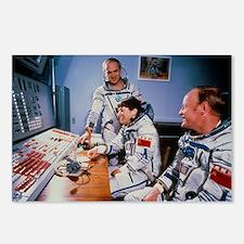 Crew of Soviet Soyus T12 before launch - Postcards
