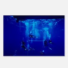 Divers decompressing beneath a boat - Postcards (P