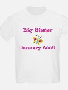Big Sister January 2009 Due Date Kids Tee