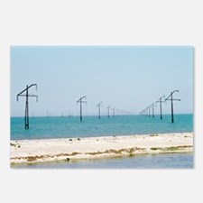 Electric power lines crossing a sea - Postcards (P