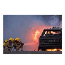 Firefighters hosing a burning car - Postcards (Pk