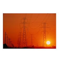 Electricity transmission lines at sunset - Postcar