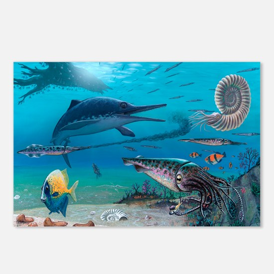 Ichthyosaur and prey - Postcards (Pk of 8)