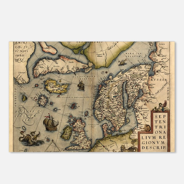 Ortelius's map of Northern Europe, 1570 - Postcard