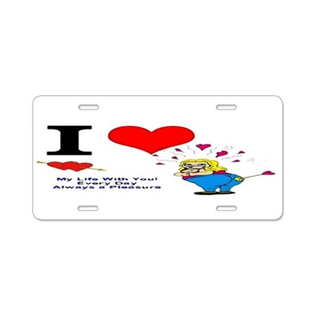 I Love You Valentine Aluminum License Plate