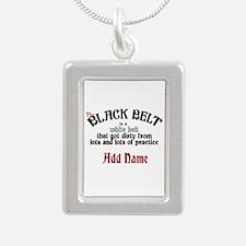 The Black Belt is Silver Portrait Necklace