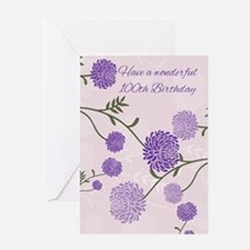 100th Birthday Greeting Card With Purple Flowers