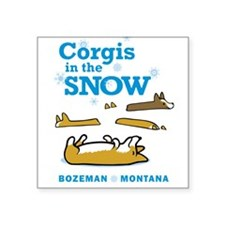 Corgis in the Snow - Bozeman, Montana Square Stick