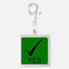 Yes Symbol with Checkmark Silver Square Charm
