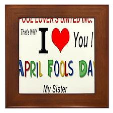 April Fools Day Sister Framed Tile
