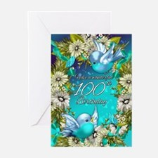 100th Birthday Greeting Card With Birds (Pk of 10)