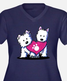 Valentine Westies Women's Plus Size V-Neck Dark T-