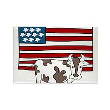 Patriotic Cow Rectangle Magnet