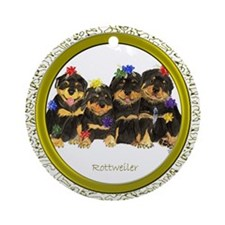 Rottweiler Christmas Holiday Ornament (Round)