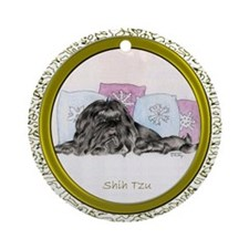 Black Shih Tzu Ornament (Round)
