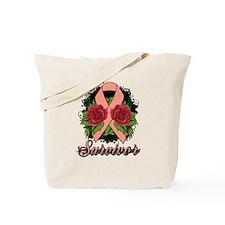 Endometrial Cancer Survivor Rose Tattoo Tote Bag