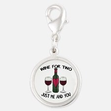 Romantic love wine for two Silver Round Charm