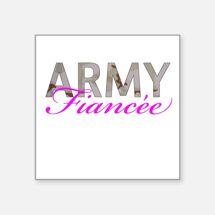 "DCU Army Fiancee Square Sticker 3"" x 3"""