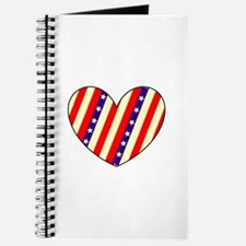 Red White Blue Stars Heart Valentines Day Journal
