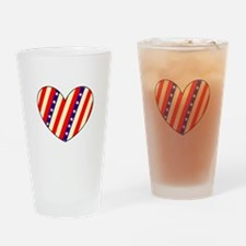 4th of July BBQ Heart Valentines Drinking Glasses