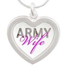 DCU Army Wife Silver Heart Necklace