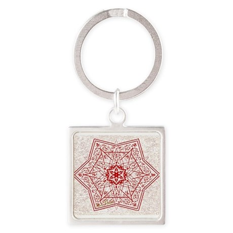 Attractive Red Star Square Keychain
