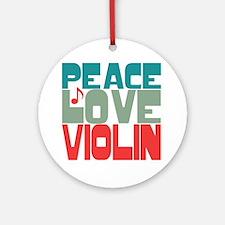 Peace Love Violin Ornament (Round)