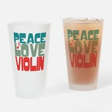 Peace Love Violin Drinking Glass