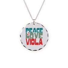 Peace Love Viola Necklace Circle Charm