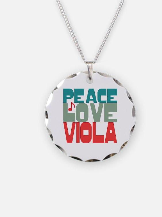 Peace Love Viola Necklace Circle Charm