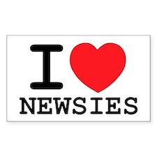I Love Newsies Oval Decal