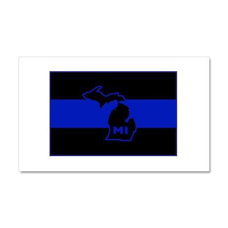 Michigan Thin Blue Line Car Magnet 20 x 12