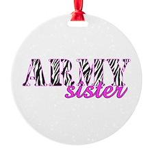 Army Sister Zebra Ornament