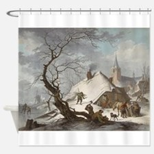 Painting of a Winter Scene Shower Curtain