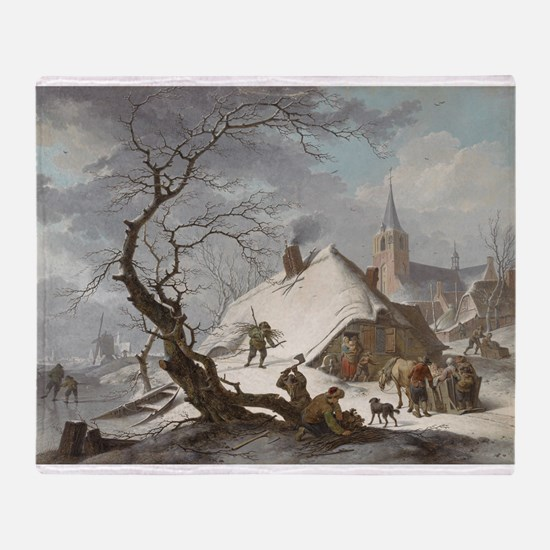 Painting of a Winter Scene Throw Blanket