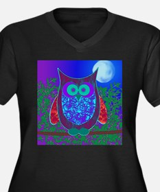 Moon Owl Women's Plus Size V-Neck Dark T-Shirt