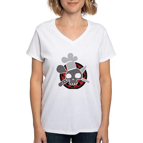 Totenkopf mit Kochmütze Women's V-Neck T-Shirt