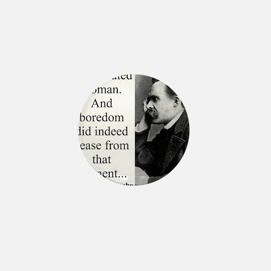 God Created Woman - Nietzsche Mini Button