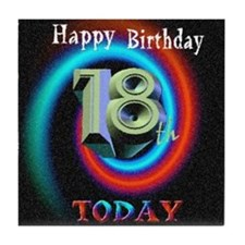 happy 18th birthday today art illuistration Tile C