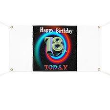 happy 18th birthday today art illuistration Banner