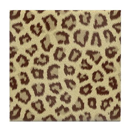 Brown Big Cat Fur Tile Coaster