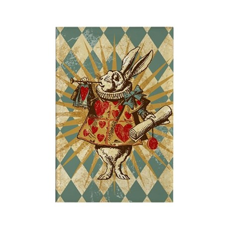 Alice White Rabbit Vintage Rectangle Magnet