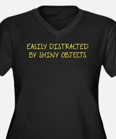 Shiny Objects Women's Plus Size V-Neck Dark T-Shir