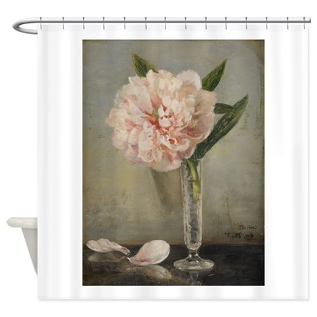 Single Pink Peony Shower Curtain By ChickPixs