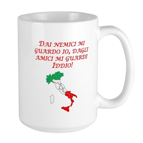 Italian Proverb Enemies Friends Large Mug