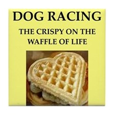 dog racing Tile Coaster