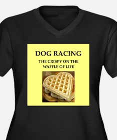 dog racing Women's Plus Size V-Neck Dark T-Shirt