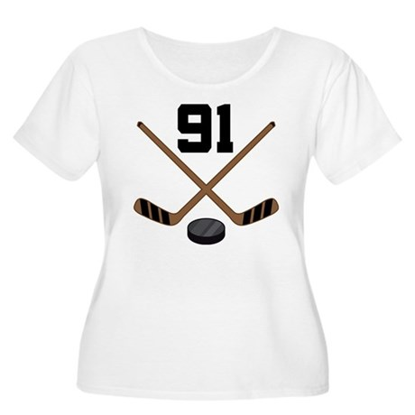 Hockey Player Number 91 Women's Plus Size Scoop Ne