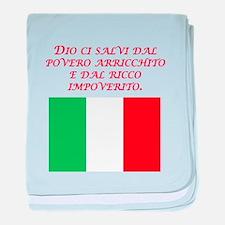 Italian Proverb Poor Rich baby blanket